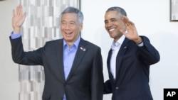 Tổng thống Barack Obama và Thủ tướng Lý Hiển Long tại Hội nghị thượng đỉnh Mỹ-ASEAN ở Sunnylands, California, 15/2/2016.