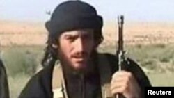FILE - Islamic State spokesman Abu Muhammad al-Adnani is pictured in this undated handout photo, courtesy the U.S. Department of State.