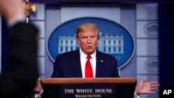 Presiden Donald Trump di Gedunh Purih, Washington, D.C. (Foto: dok).