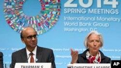 အျပည္ျပည္ဆိုင္ရာ ေငြေၾကးရန္ပံုေငြအဖဲြ႔ (IMF) အႀကီးအကဲ Christine Lagarde (ယာ)