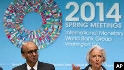 La directrice générale du FMI, Christine Lagarde, et le ministre des Finances de Singapore,Tharman Shanmugaratnam, lors des réunions de printemps Banque Mondiale-FMI