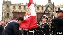 Alan García participó de la ceremonia de entrega de la banda presidencial en la Casa Militar de Palacio de gobierno de Perú.