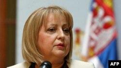 Predsednica Skupštine Srbije Slavica Djukić-Dejanović obraća se novinarima posto je potpisala odluku o raspisivanju predsedničkih izbora 6. maja.