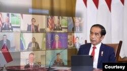Presiden Jokowi dalam menghadiri Global COVID-19 SUMMIT secara virtual pada Kamis (23/9) dari Istana Kepresidenan Bogor menyerukan perlunya penataan ulang sistem ketahanan kesehatan global yang baru (biro pers)