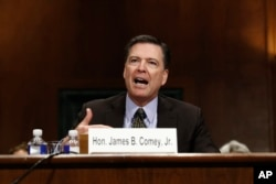 "FILE -FBI Director James Comey testifies on Capitol Hill in Washington, May 3, 2017, before the Senate Judiciary Committee hearing: ""Oversight of the Federal Bureau of Investigation."""