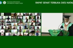 Karena pandemi, Rapat Senat Terbuka F.Kehutanan UGM dilaksanakan secara daring. (Foto: Tangkapan Layar)
