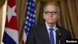 Jeffrey DeLaurentis, U.S. Charge d'Affaires in Cuba, delivers a speech after signing accords with Cuba to join forces to prevent, contain and cleanup oil spills in their respective Gulf of Mexico waters, in Havana, Cuba, Jan. 9, 2017.