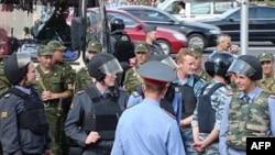 Cảnh sát Nga đang canh giữ tại một cuộc biểu tình