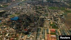 FILE - An aerial view of the oil hub city of Port Harcourt in Nigeria's Delta region. Massoel Shipping's MV Glarus was bound for Port Harcourt on Sept. 22, 2018, when it was boarded by pirates.