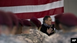 Defense Secretary Leon Panetta speaks with members of the 173rd Airborne Brigade Combat Team, Vicenza, Italy, Jan. 17, 2013.