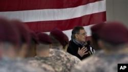 Defense Secretary Leon Panetta speaks with members of the 173rd Airborne Brigade Combat Team, Vicenza, Italy, Jan. 17, 2013.