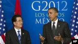 今年6月奥巴马总统和胡锦涛主席在20国峰会上举行双边会谈