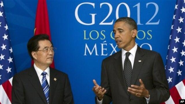 Serokê Çînê Hu Jintao ligel Serok Barack Obama ye