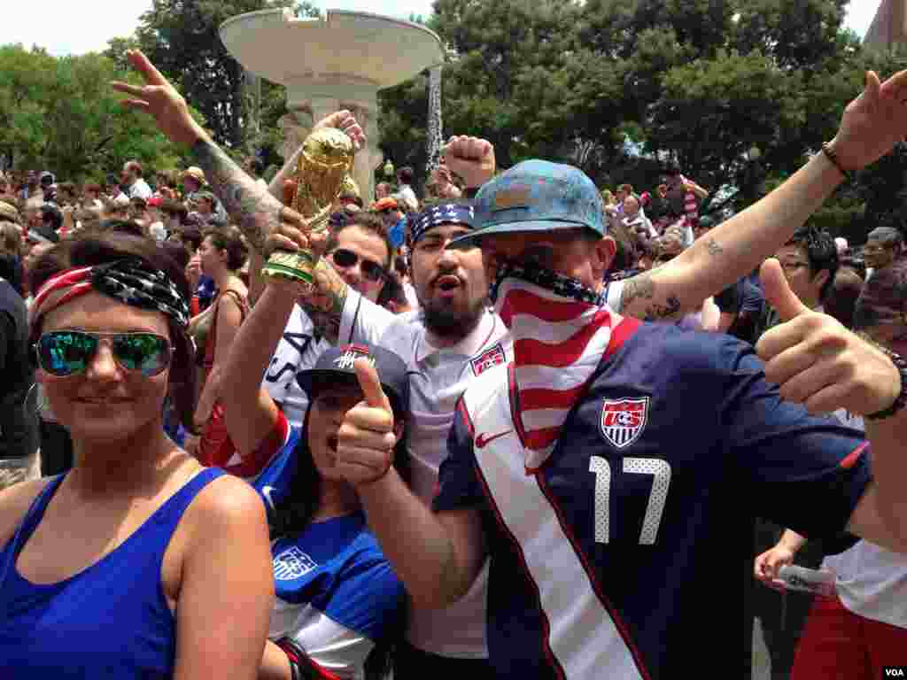 Thursday's fan fest in Dupont Circle Park drew a largely pro-U.S. crowd.