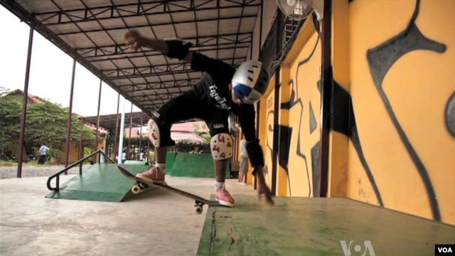 A group is using the sport of skateboarding to help at-risk children in Cambodia