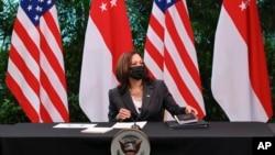 美國副總統賀錦麗2021年8月24日出席新加坡濱海灣花園圓桌會議
