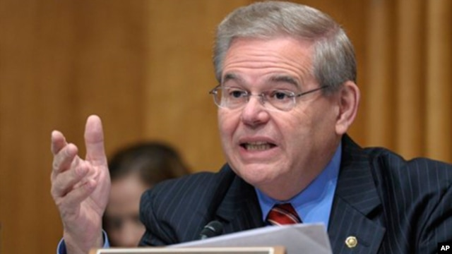 Senate Foreign Relations Committee member Sen. Robert Menendez, D-N.J., speaks on Capitol Hill in Washington, Thursday, Dec. 1, 2011, during the committee's hearing to examine US strategic objectives towards Iran.