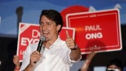 PM Kanada Justin Trudeau di Winnipeg, Manitoba, 19 September 2021.
