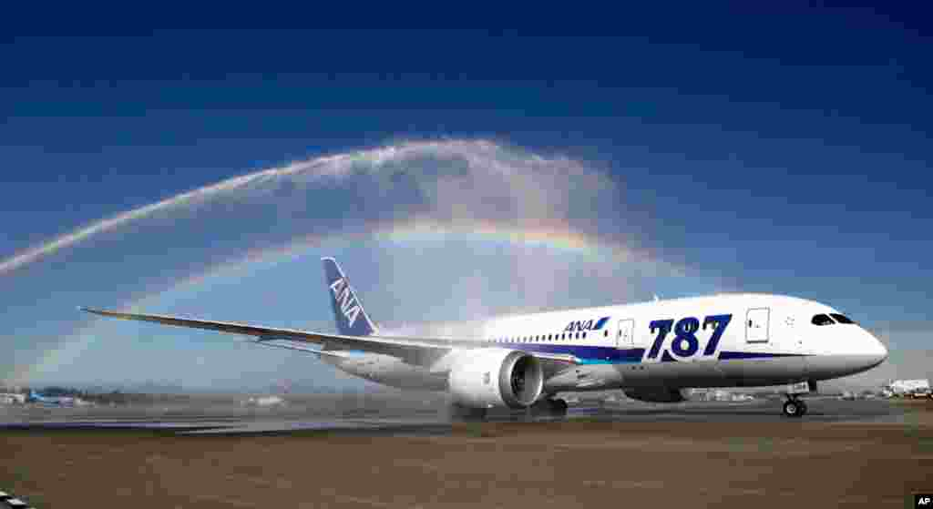 A Boeing 787 at Seattle-Tacoma International Airport, October 1, 2012, during an official welcome ceremony after it landed on the first day of service for the aircraft on ANA's Seattle-Tokyo route.