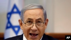 14일 주례 각의를 주재하고 있는 네타냐후 이스라엘 총리.