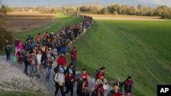 Izbeglice na granici Hrvatske sa Slovenijom.