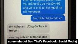 Ảnh chụp tin nhắn bị cho là giữa một phó bí thư đảng của Thanh Hóa với bồ nhí