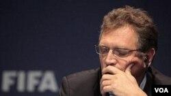 Sekretaris Jenderal FIFA, Jerome Valcke, pada jumpa pers di Zurich, Swiss (Foto dok).