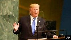 Presiden Amerika Serikat Donald Trump berpidato di hadapan Sidang Majelis Umum Perserikatan Bangsa-Bangsa di New York, Selasa, 19 September 2017. (AP Photo / Seth Wenig)