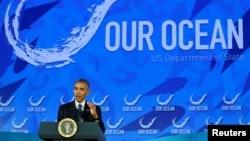 바락 오바마 미국 대통령이 15일 국무부에서 진행된 '우리의 바다' 컨퍼런스에서 연설하고 있다.
