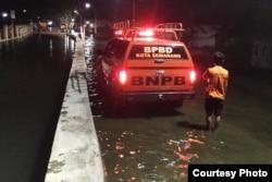 Banjir rob terjadi pada 10 April 2019 di Kecamatan Genuk, Kota Semarang. (Foto: BPBD Kota Semarang)