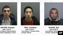 Ảnh ba tù nhân vượt ngục đang bị truy lùng do sở Cảnh sát Orange County cung cấp.