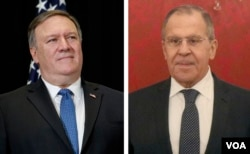 FILE - U.S. Secretary of State Mike Pompeo, left, and Russian Foreign Minister Sergey Lavrov are seen in these undated photos.
