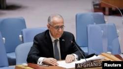 阿富汗常駐聯合國代表伊薩克扎伊在聯合國安理會發言(2021年8月16日