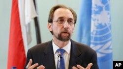 Kepala Urusan HAM PBB Zeid Ra'ad al-Hussein, memberikan keterangan kepada media di Jakarta, Rabu (7/2).