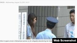 Một phụ nữ Việt bị bắt vì bị cáo buộc bỏ rơi con mới sinh.