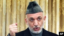 Afghan President Hamid Karzai speaks during a press conference in Kabul, February 08, 2011. (file photo)