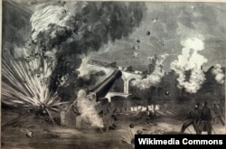 The attack against Fort Sumter in 1861, during the American Civil War.
