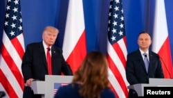Shugaban Amurka Donald Trump a lokacin ziyarasa a Poland