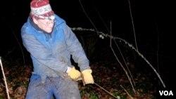 Ông Kevin Head, một người tình nguyện làm công việc dẹp dây leo ivy trong công viên Priest Point Park, tiểu bang Washington