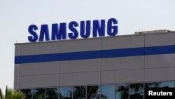 Le logo de Samsung Electronics dans l'usine de l'entreprise à Tijuana, au Mexique, le 1er juin 2019. REUTERS / Jorge Duenes
