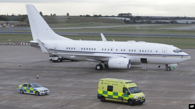 An ambulance carrying injured Pakistani teenager Malala Yousufzai leaves Birmingham airport, England on Oct. 15, 2012.