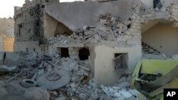 حلب کی تباہی کا ایک منظر
