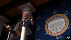 FILE - Former New York Gov. George Pataki speaks at the Republican Jewish Coalition Presidential Forum in Washington.