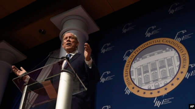 FILE - Former New York Gov. George Pataki speaks at the Republican Jewish Coalition Presidential Forum in Washington.