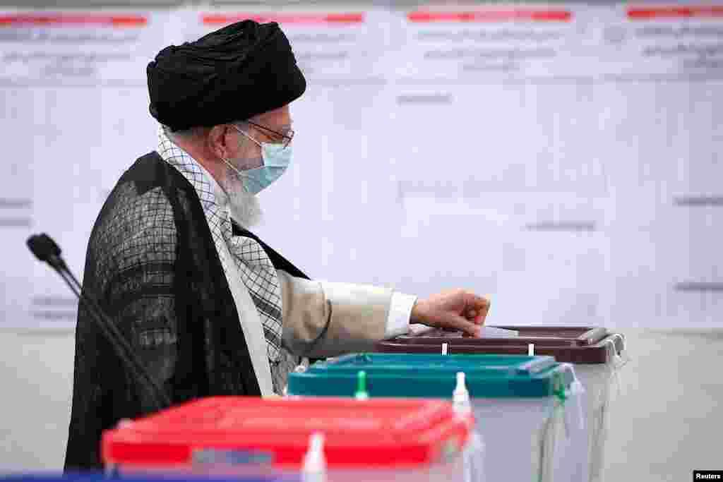 Iran's Supreme Leader Ayatollah Ali Khamenei casts his vote during Iranian presidential election in Tehran, Iran. (Official Khamenei Website/Handout via Reuters)