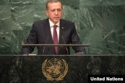 Turkish President Recep Tayyip Erdogan addresses the U.N. General Assembly.