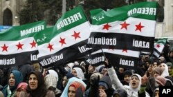 Xwenîşanderên Sûrî bi alayên xwe li dijî Esed xwepêşandanê dikin. Stenbol, Sîbat, 17, 2012