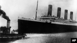 FILE - The British liner Titanic sails out of Southampton, England, at the start of its doomed voyage on April 10, 1912. The ship struck an iceberg and sank on April 14-15, killing more than 1,500 people. (AP Photo)
