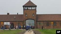 FILE - The entrance to the Aushwitz Birkenau former death camp is seen May 1, 2008.