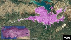 Peta Adana, Turki.